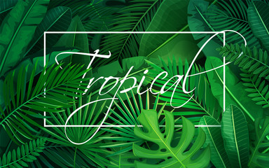 poster with tropical leaves