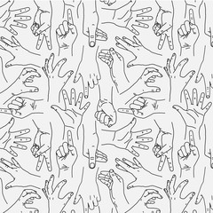 Hands Gesture - Seamless Black and White Pattern