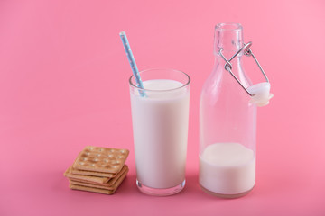Glass bottle of fresh milk and cookies on pink background. Colorful minimalism. Healthy dairy products with calcium