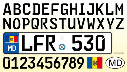 Moldova car plate, letters, numbers and symbols, new design