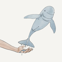 Illustration human need to take care of dolphins