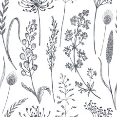 Floral seamless pattern with hand drawn poppy flowers and leaves.