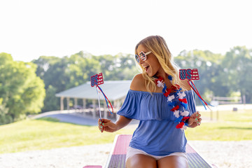 Gorgeous Patriotic Blonde Model Enjoying The 4th Of July Festivities