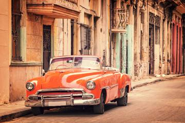 Vintage classic american car in a street in Old Havana, Cuba