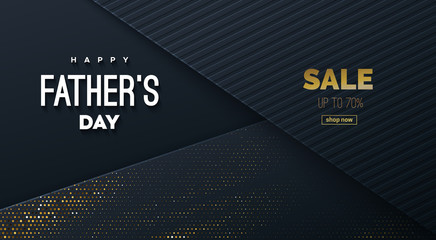 Happy Fathers Day. Vector holiday illustration. Abstract black background with paper layers and congratulation label. Fathers Day Sale banner or web layout design