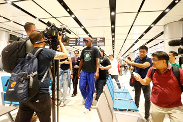 Former basketball player Dennis Rodman arrives at Changi Airport in Singapore