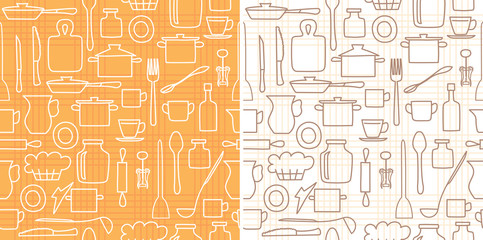 white and brown kitchenware on background with lines - vector seamless pattern