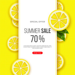 Summer sale banner with sliced lemon pieces, leaves and dotted pattern. Yellow background - template for seasonal discounts, vector illustration.