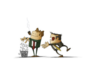 boss is breaking a contract and throwing it into the bin while employee is behind surprised. isolated