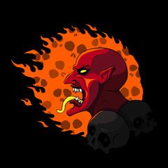 Devil head on fire. Vector illustration