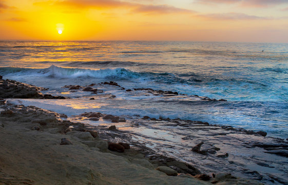 Sunset at the Cove in La Jolla California Waters