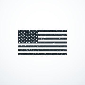 Vector grunge monochrome USA flag