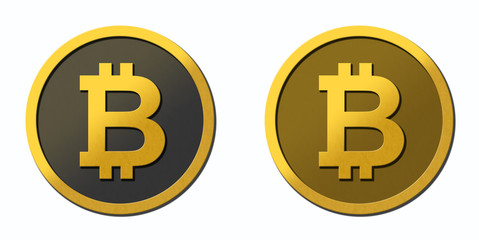 2 bitcoin coins with clear white background.