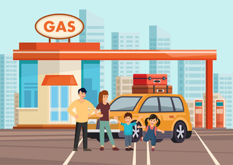 Cartoon flat happy family of fours with own car
