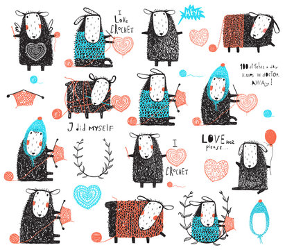 Big collection of knitting and crocheting sheep hand drawn clip art elements for design.