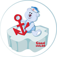 Good sailor. Polar bear cub with an anchor on the ice floe. Funny bear-baby. Emblem for children's textiles, for children's albums, packing toys with marine themes. Time of adventure and sea travel.