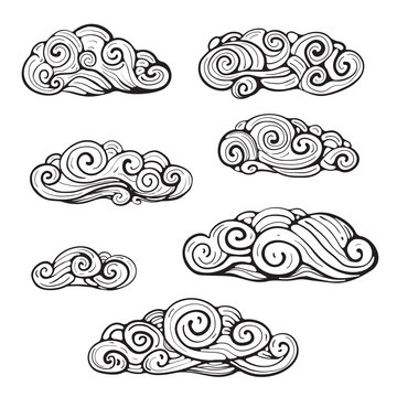 Sophisticated tracery clouds hand drawn design. Vector cartoon.