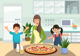 Cartoon mother feeds children with cooked pizza