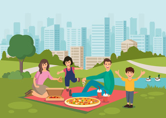 Cartoon happy family eat pizza on picnic in park