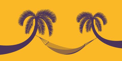hängematte am strand zwichen zwei palmen smiley