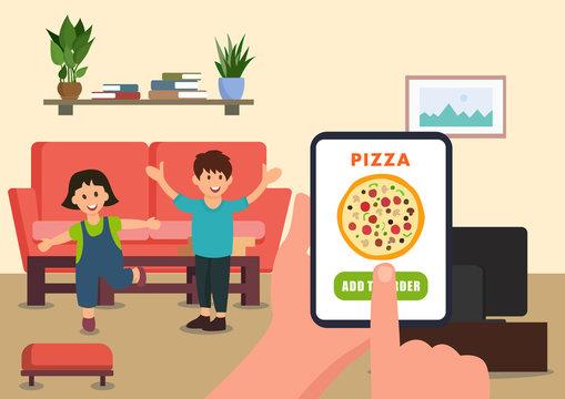Parent orders pizza for children online.