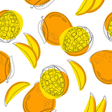 Mango seamless pattern. Continuous line hand drawn vector illustration.