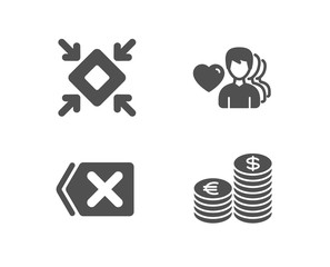 Set of Remove, Minimize and Man love icons. Currency sign. Delete button, Small screen, Romantic people. Euro and usd.  Quality design elements. Classic style. Vector