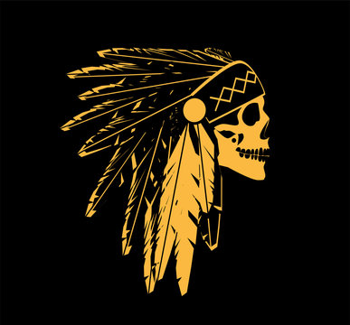 skull icon wearing American Indian war bonnet gold color. Vector background