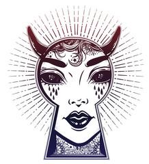Occult devil woman peeping through the keyhole. Boho style mystery art.