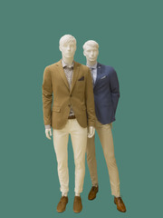 Two full-length male mannequins.