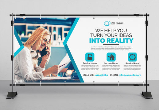 Banner Advertisement Layout with Blue Accents