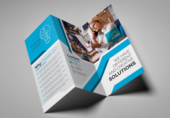 Blue and Gray Trifold Brochure