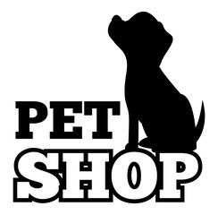 Pet Shop Logo and Cute Black Puppy Silhouette