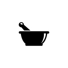 Mortar and Pestle Pharmacy. Flat Vector Icon. Simple black symbol on white background