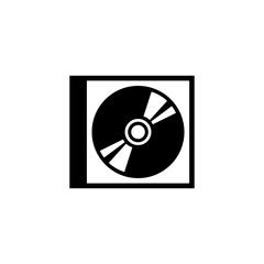 CD DVD Disc and Box. Flat Vector Icon. Simple black symbol on white background