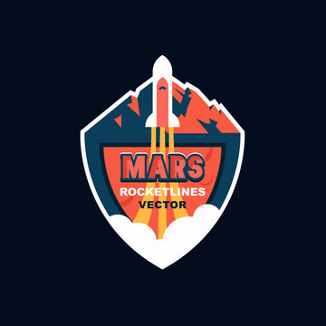Rocket launch to Mars. Vector logo design for future mission of Mars, promo events, games, label, cartoon badge.