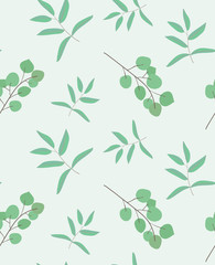 Hand drawn eucalyptus leaves, minimalist seamless pattern. Modern simple background for design package, flyer, invitation, card, banner, wedding, placard, poster, layout, birthday