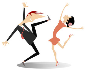 Dancing young couple illustration isolated. Funny dancing young man and woman isolated on white illustration