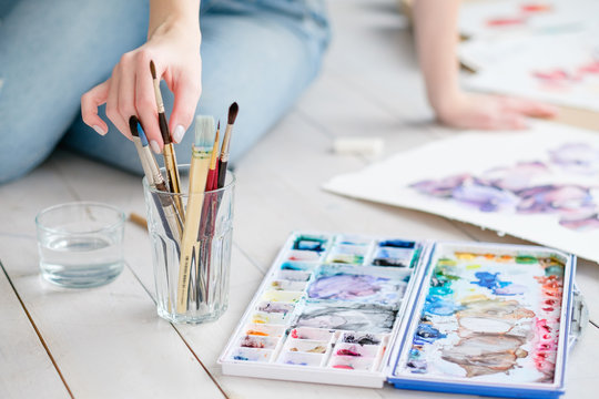 artist brushes and watercolor set. instruments and tools for creative leisure. painting hobby