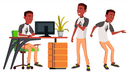 Office Worker Vector. Emotions. Lifestyle. Black. African. Business Person. Poses. Front, Side View. Career. Modern Employee, Workman. Isolated Flat Cartoon Character Illustration