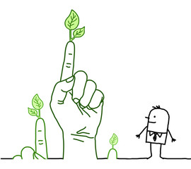 Big Green Hands with Cartoon Character - Communication