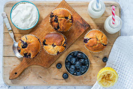 Homemade blueberry and lemon muffins - top view