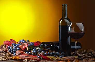 Red wine and grapes .