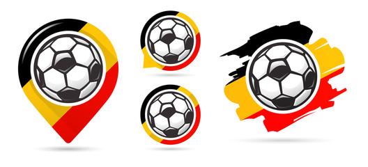 Belgian football vector icons. Soccer goal. Set of football icons. Football map pointer. Football ball. Soccer ball.