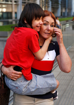 Charlotte Caldwell, and her son Billy, leave the Home Office after a meeting with officials to discuss how Billy can have his severe epilepsy treated with cannabis oil, which is a banned substance in Britain, in London