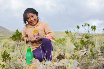 Active little native ammerican girl in the countryside.