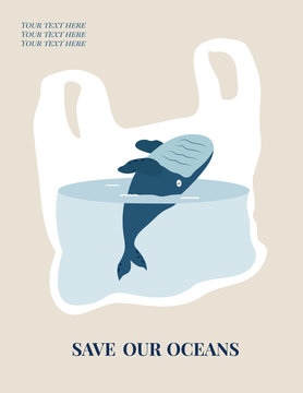 Eco concept poster with blue whale