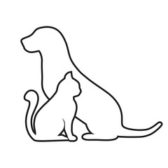 Composition of Dog and Cat Silhouettes on a white background