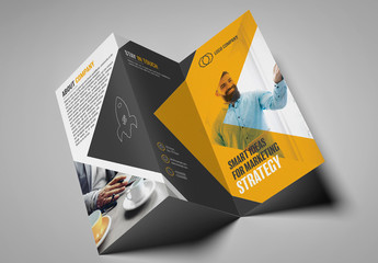 Dark Gray and Yellow Trifold Brochure Layout