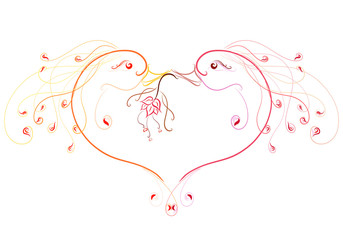 Beautiful birds in love, fairy heart and flower